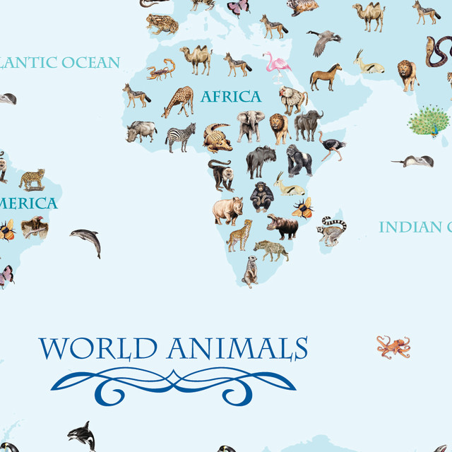 World animals map blue wall mural contemporary wall for Blue world map mural