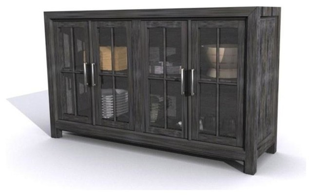 Magnussen Bellamy Buffet Curio Cabinet, Deep Weathered Pine Finish - Traditional - Buffets And ...