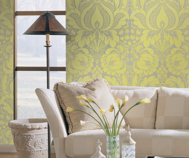 Shand kydd traditional living room other metro by - Green living room wallpaper ...