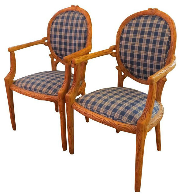 Pair of country french chairs in blue plaid 2 200 est for French farmhouse dining chairs