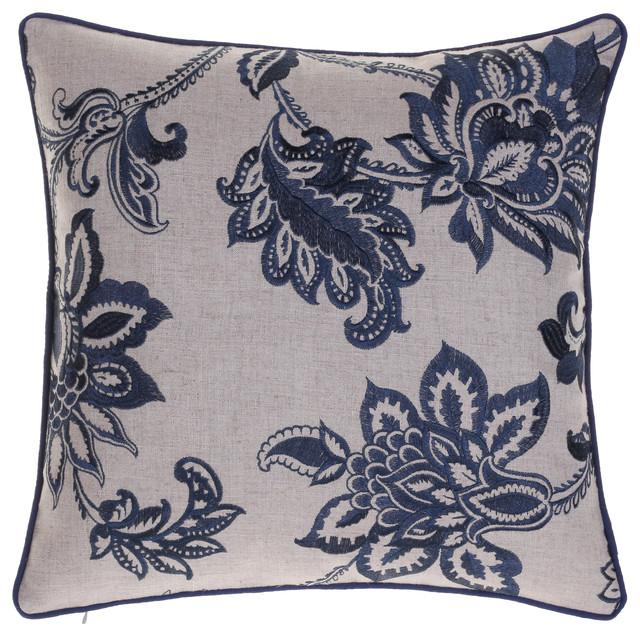 Embroidered French Country Throw Pillow, Indigo - Farmhouse - Decorative Pillows - by 14 Karat ...
