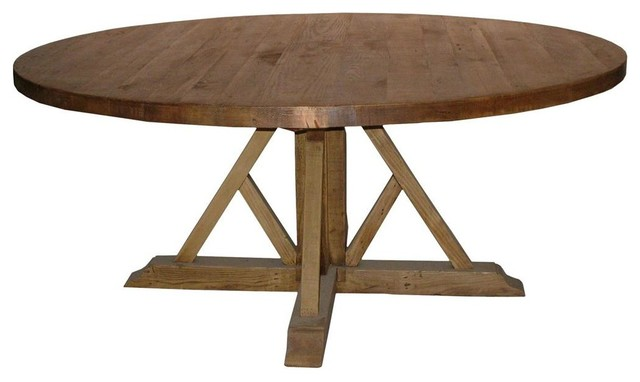 Cfc reclaimed lumber cross base dining table traditional for Traditional dining table bases