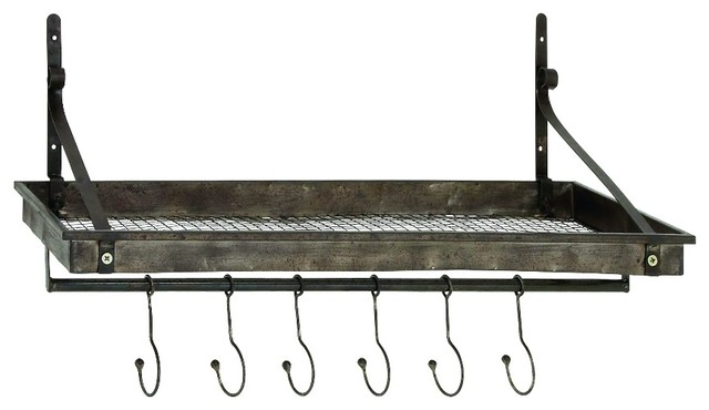 Craftsman 6-Hook Metal Wall Shelf - Industrial - Display And Wall Shelves - by GwG Outlet