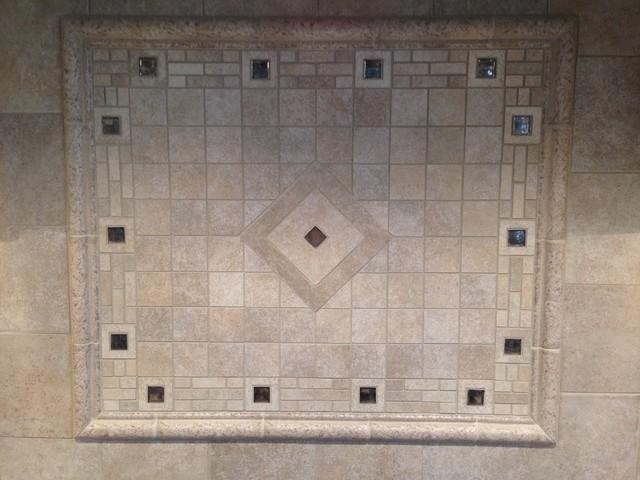 porcelain backsplash w custom mosaic stove accent inlay
