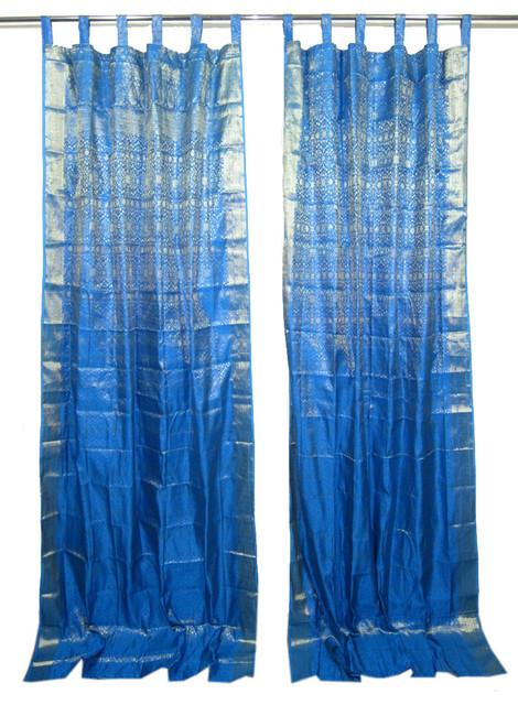 Indian Style Decor 2 Sari Curtains Blue Brocade Silk Sari Drapes Curtain Window Asian