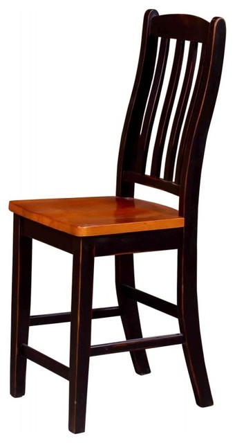 Gathering Chair Honey Pine Black Wash Farmhouse Dining Chairs by clipp