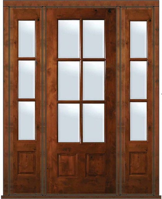 Prehung french sidelights door 96 wood alder 3 4 lite 6 for 6 foot exterior french doors