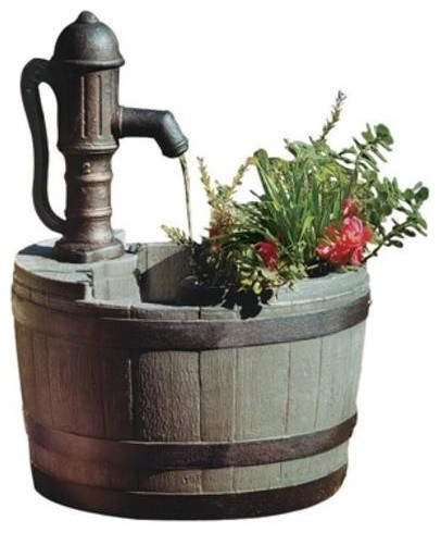 Little Giant 14940294 Whiskey Barrel Fountain With Planter