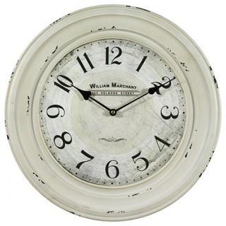 16 In Circular Iron Wall Clock Distressed White Iron