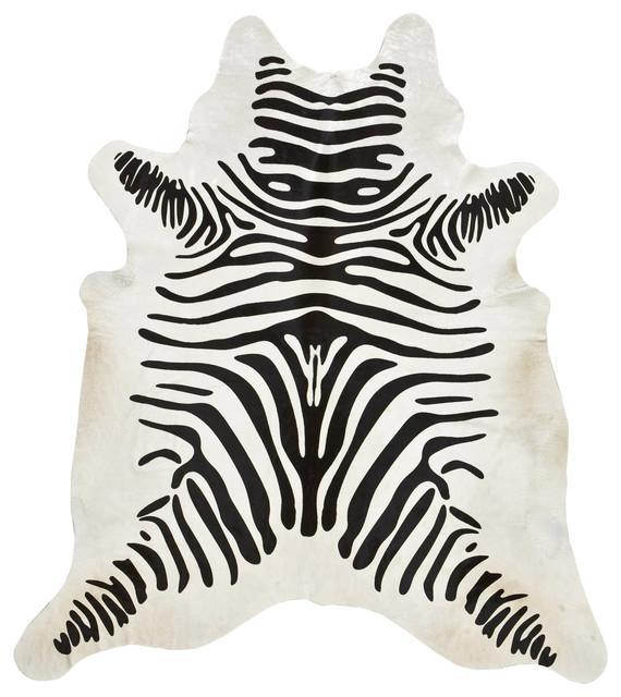 Zebra Rug Los Angeles: Zebra Print Cowhide Rug, Off-White