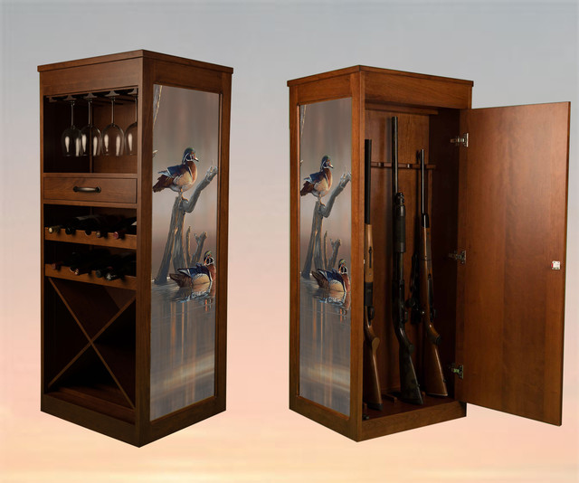 Wag Wine Art Gun Cabinet Rustic Wine And Bar Cabinets Seattle By Kelsey 39 S Collection Inc