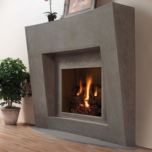 Palermo stone fireplace mantel contemporary indoor fireplaces other metro by - Large contemporary stone fireplace ...
