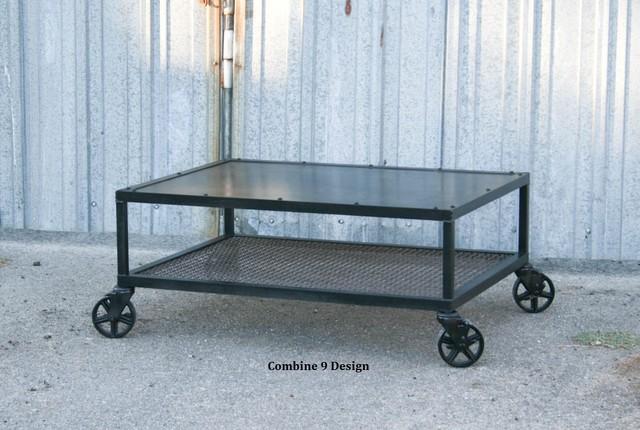 Vinatage Industrial Coffee Table Made Of Steel Mid