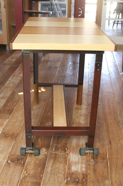 Rolling Bar Height Dining Table Eclectic Dining Tables