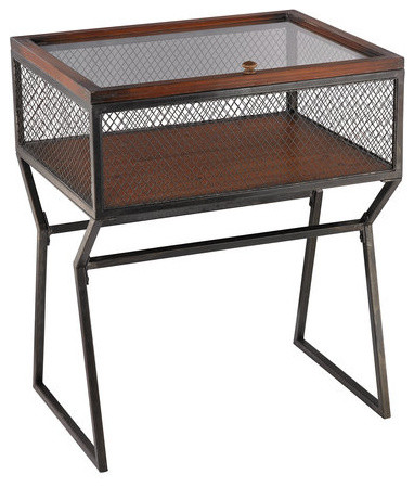 Aged Iron Curio Mesh Table Industrial Side Tables And End Tables