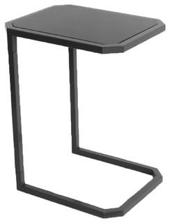 Yaka Bout De Canap Noir En Acier Contemporain Table D
