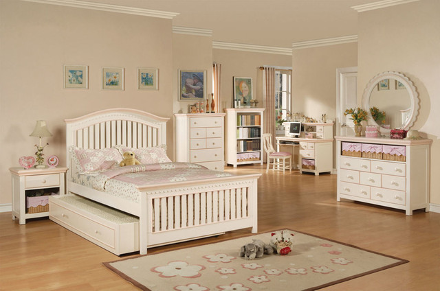 White And Pink Girls Bedroom Set Contemporary Kids