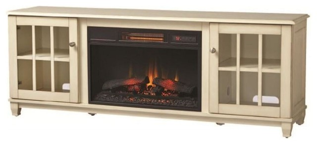 Westcliff 66 In Low Boy Media Console Electric Fireplace In Bleached Linen Contemporary