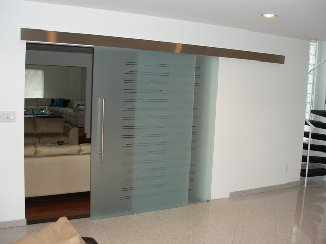 Parallel glass sliding door on the wall model sagitta Modern glass doors interior