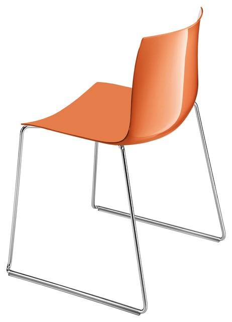 Catifa 46 stuhl mit kufen einfarbig orange bauhaus look for Design stuhl mit kufen