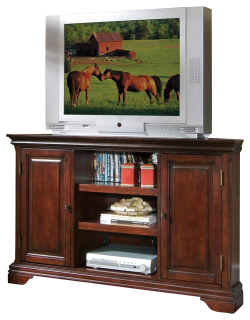 Corner TV Stand in Cherry Finish contemporary-entertainment-centers ...