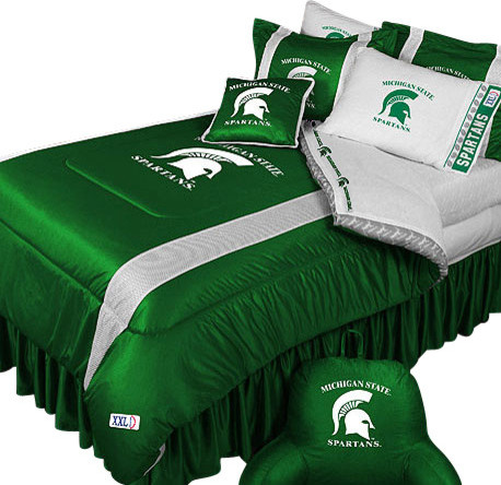 ncaa michigan state spartans bedding college football bedding set full contemporain couvre. Black Bedroom Furniture Sets. Home Design Ideas