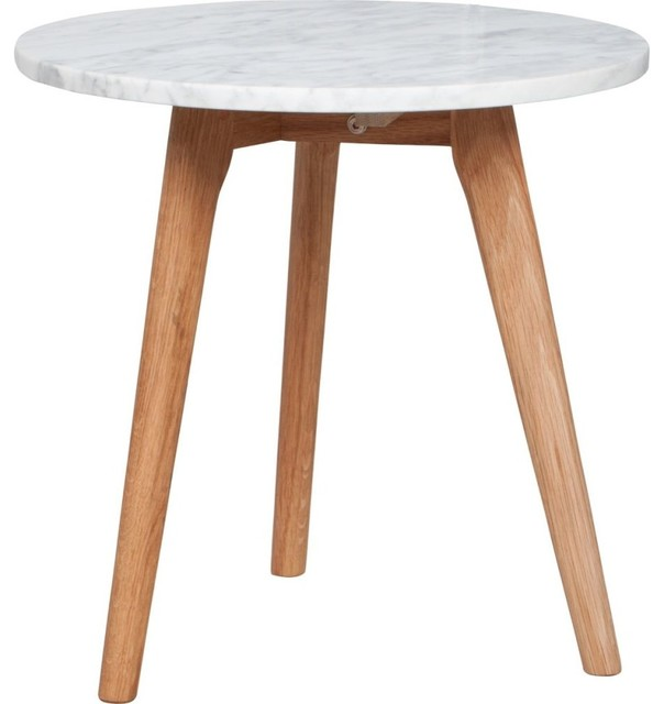 Table basse ronde bois et marbre design stone m couleur blanc noyer scand - Grande table ronde bois ...