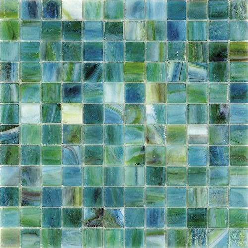Sea glass tile backsplash