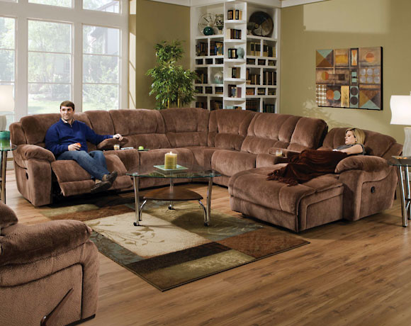 Championship Brownsugar Reclining Sectional Transitional