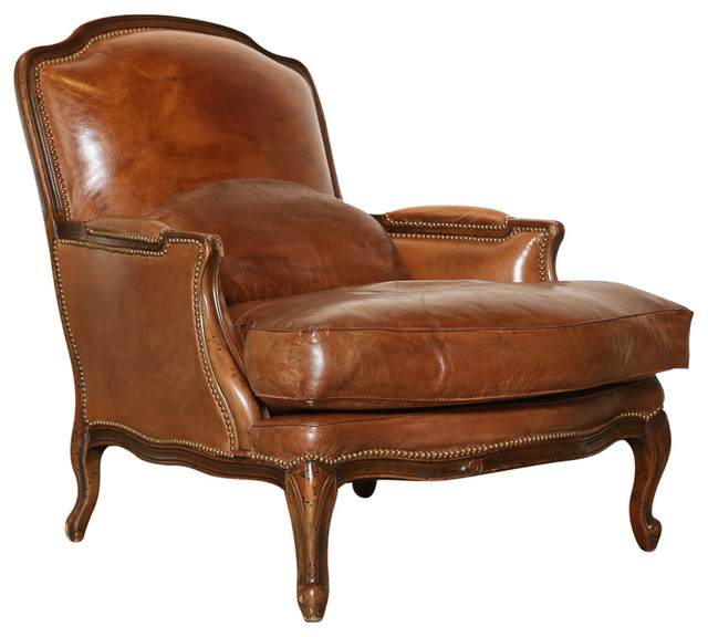 French Inspired Leather Bergere Chair Modern Armchairs
