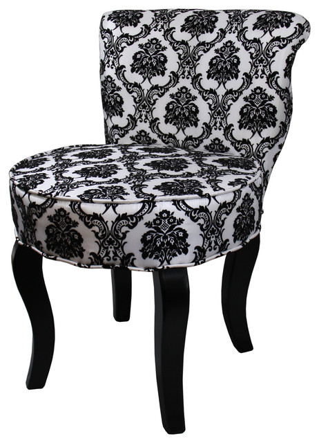 "31""H French Black White Damask Accent Chair Transitional"