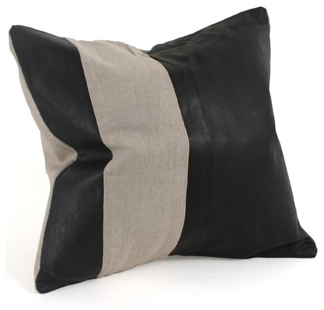 Decorative Leather Pillows : Leather & Linen Pillow - Contemporary - Decorative Pillows - albuquerque - by Pfeifer Studio