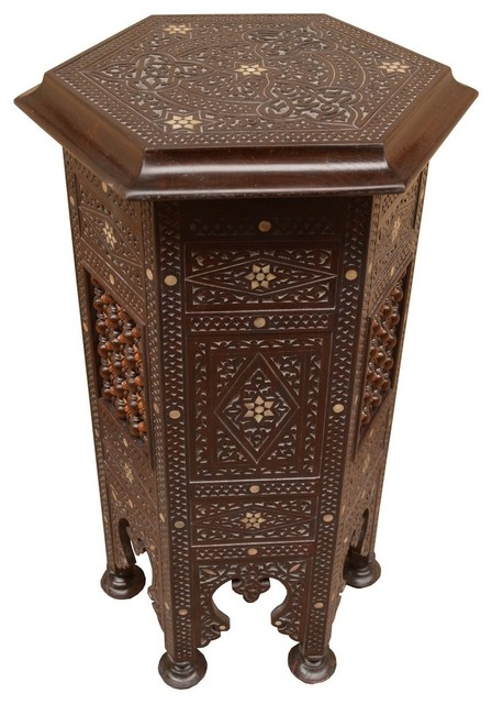 Syrian Hand carved Mother of Pearl Inlaid Wood Coffee Side Table - Craftsman - Side Tables And ...