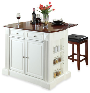 Crosley Drop-Leaf Breakfast Bar Top Kitchen Island with Cherry Square Seat Stool - Contemporary ...