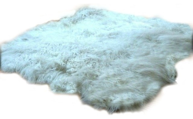 Thick And Shaggy Faux Fur Sheepskin Accent Rug Random
