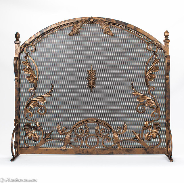 Custom iron timeless fireplace screen traditional for Timeless fireplace designs