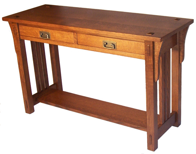 Mission sofa table arts crafts coffee tables by for Arts and crafts sofa table