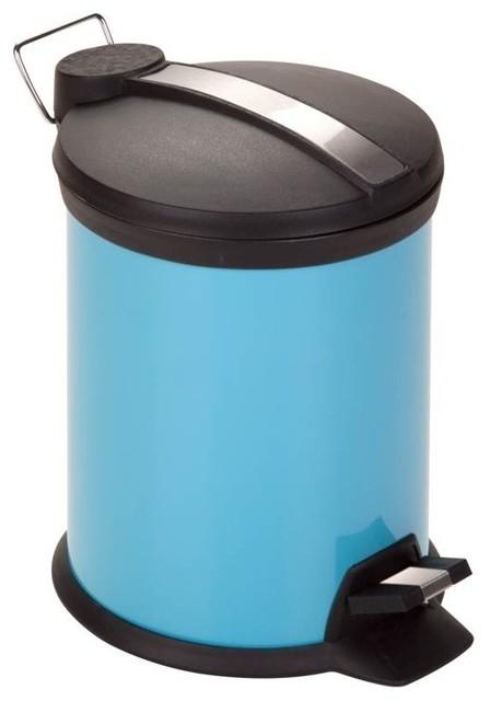 2 tone blue steel bath 3l trash can contemporary for Blue bathroom bin