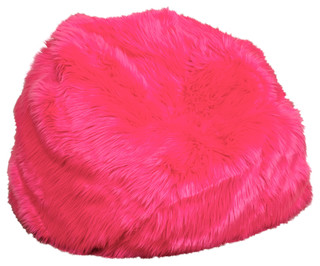 Pink contemporary living room chairs by great deal furniture - Abbey Neon Fur Kids Bean Bag Neon Pink Contemporary