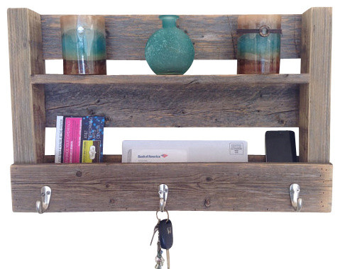 Harrison Reclaimed Entry Shelf, Barn Wood - Rustic - Display And Wall Shelves - by (del)Hutson ...
