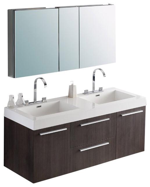 Gray Oak Floating Modern Double Sink Bath Vanity With Medicine Cabinet Gray Oak Contemporary