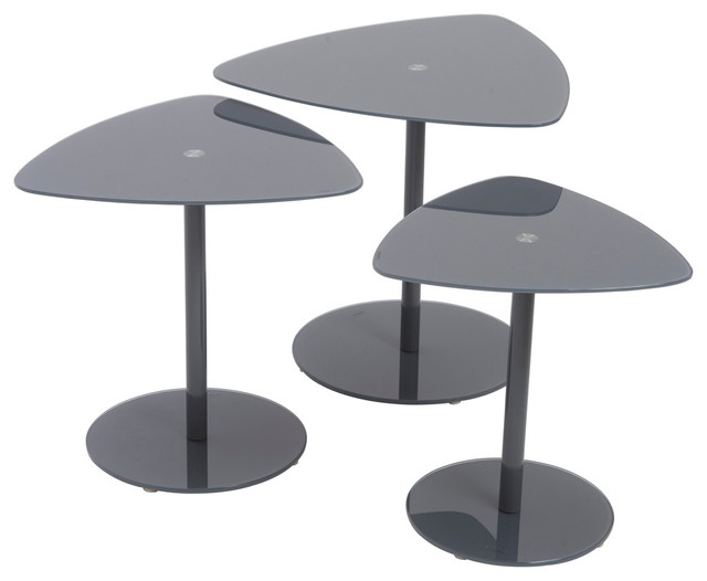 Sarafina Gray Glass Side Tables Set Contemporary Coffee Table Sets