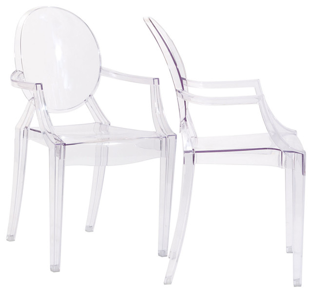Clear Acrylic Ghost Arm Chair New Set of 2 Modern