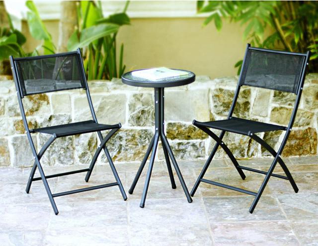 3-piece Black Glass Table Bistro Set