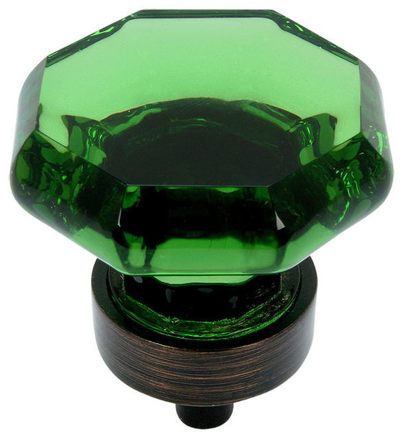 Oil Rubbed Bronze & Emerald Glass Cabinet Knob eclectic-cabinet-and-drawer-knobs
