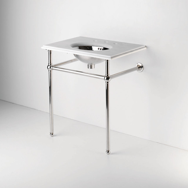 Metal round two leg single washstand waterworks traditional bathroom vanities and sink for Single sink consoles bathroom