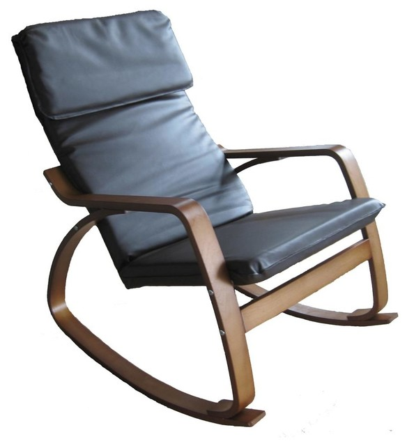 Wooden Rocking Chair In Black Black Contemporary Living Room Chairs B