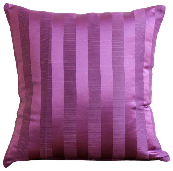 Purple Accent Pillows Modern : Purple Stripe Decorative Stripe Silk Throw Throw Pillow Cover, 14x14 contemporary-decorative-pillows