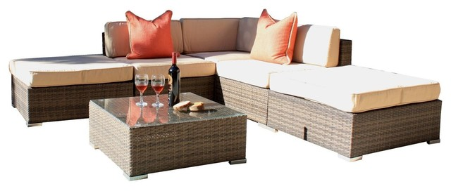 6 piece outdoor patio wicker modular sectional sofa set for 6 piece sectional sofa uk
