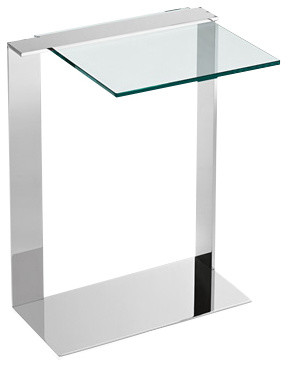 JOLIET Side Table, Tall Clear Glass and Chrome modern-side-tables-and ...